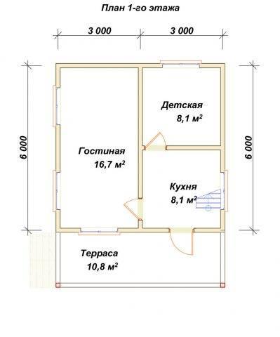 Планировка 1 этажа 6х6 метров
