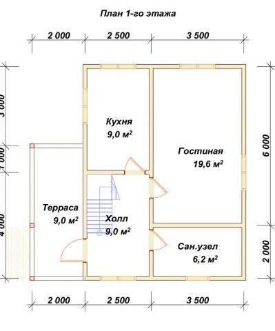 Планировка 1 этажа 6х8 метров