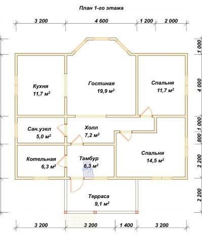 Планировка 1 этажа 9х11 метров